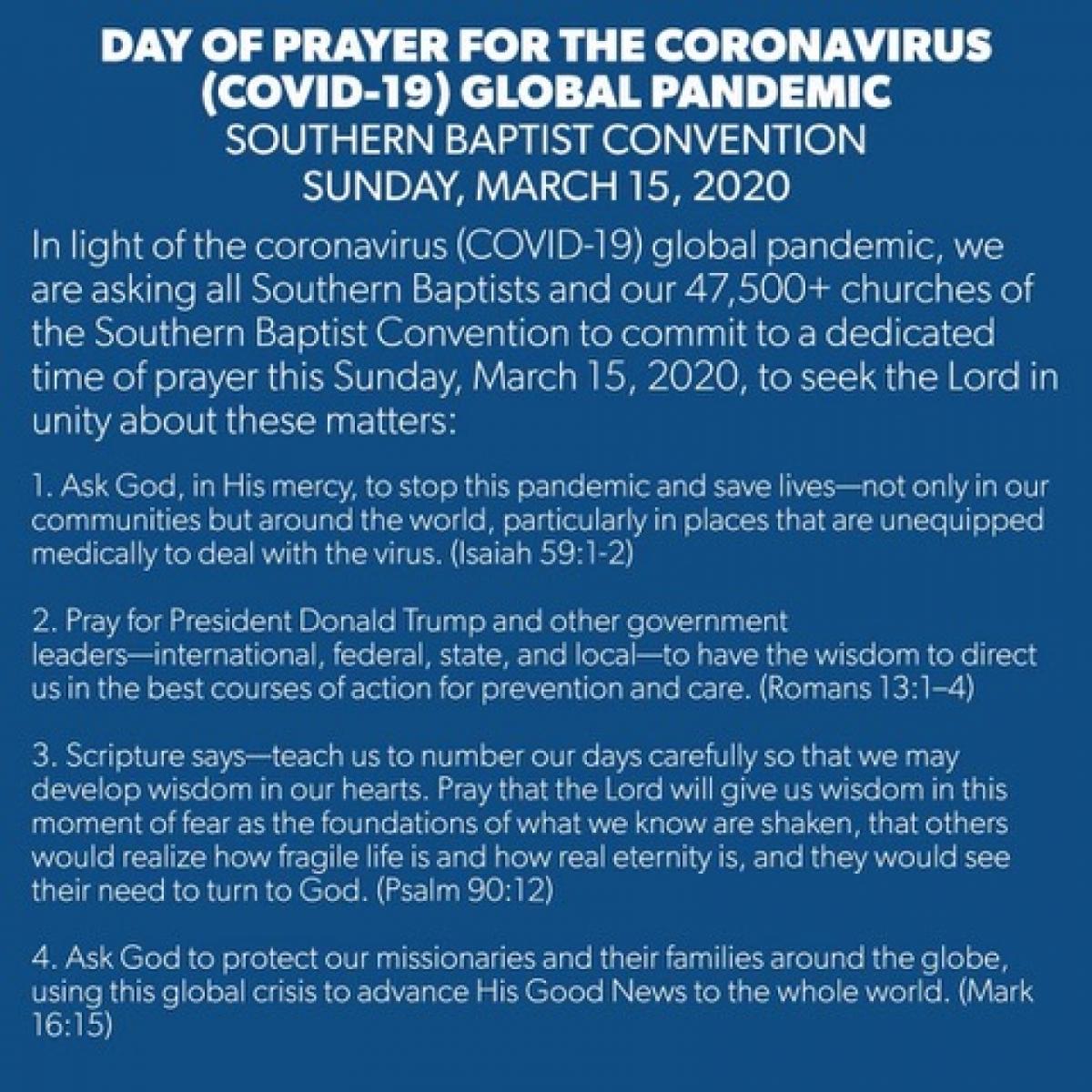 March 15 2020 Day Of Prayer For Coronavirus